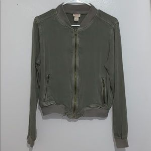 Army green jacket with rustic gold zipper